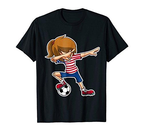 (Dabbing Soccer Girl USA Shirt, American Flag Jersey)