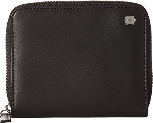 Victorinox Altius Edge Weyl Zippered Leather Clutch Wallet w/RFID Protection (Black Leather)