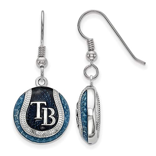 MLB Tampa Bay Rays Sterling Silver Tampa Bay Rays Enameled Baseball Dangle Earrings Size One Size