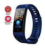 Activity Trackers Sport Smart Watch Color Screen Fitness Tracker Heart Rate Blood Pressure Monitor Bluetooth Wearable Technology Wristband Step Counter Smart Bracelet for Android and iOS (Dark Blue)