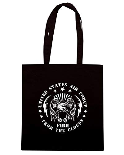Borsa Shopper Nera TM0677 UNITED STATES AIR FORCE FIRE FROM THE SKY