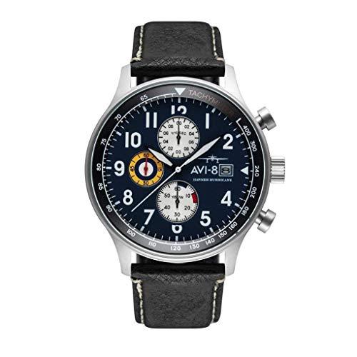 AVI-8 Men's Hawker Hurricane Stainless Steel Japanese-Quartz Aviator Watch with Leather Strap, Black, 22 (Model: AV-4011-0I) (Panda Watch)