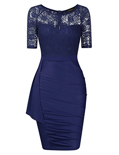 HiQueen Lace Dresses for Women - Womens Sleeveless Cocktail Dress for Special Occasions (Navy Blue,S)