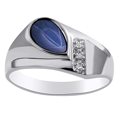 Diamond & Simulated Blue Star Sapphire Ring Sterling Silver or Yellow Gold Plated Silver by Rylos