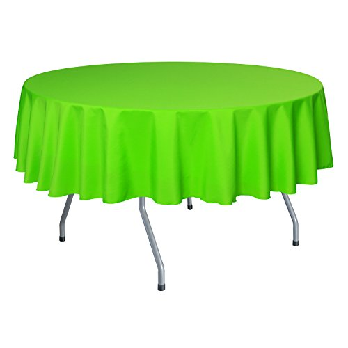 Ultimate Textile (2 Pack) 60 Inch Round Polyester Linen Tablecloth - for Wedding, Restaurant or Banquet use, Neon Green - Round Buffet Table Clothes