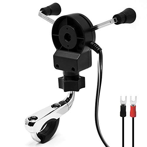 """GoldenHawk Universal Waterproof Motorcycle Cell Phone Mount Holder USB Charger System with 0.5 to 1.25/"""" Aluminum Handlebar Mounting Clamp 4.9FT//60 In.//1.5M Power Cable for iPhone Samsung Smartphones"""