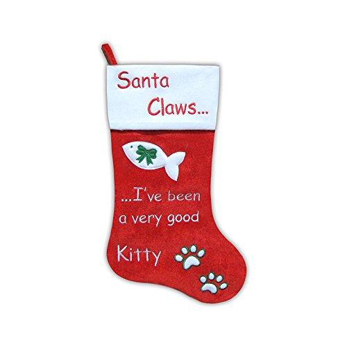 "Velvet Decorative Christmas Stocking (20.5"" Santa Claws Pet Cat Velvet Christmas Stocking (Cat))"