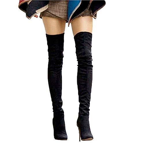 Shoe'N Tale Women Over The Knee High Stretchy Leather Thigh high Snow Boots (7.5 B(M) US, Black )