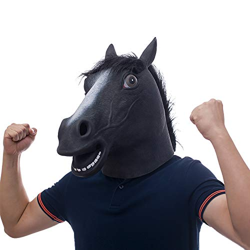 molezu Black Fur Mane Horse Head Mask, BoJack Horseman Mask, Halloween Novelty Deluxe Rubber Latex Animal -