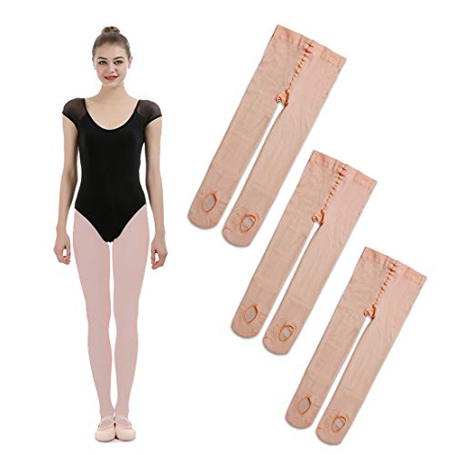 (iMucci 3 Pairs Ballet Dance Tights - Velet Convertible Ballerina Dancing Stockings Pink S 3-5Years)