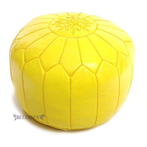 Stuffed Moroccan Yellow Leather Pouf, Handmade Ottoman, Hassock, Tuffet, Foot Stool, Seating, Foot Rest