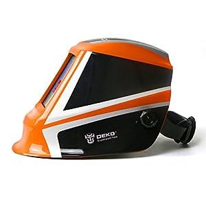 Solar Powered Welding Helmet Auto Darkening Professional Hood with Wide Lens Adjustable Shade Range 4/9-13 for Mig Tig Arc Weld Grinding Welder Mask (Orange) from XUGEL GROUP