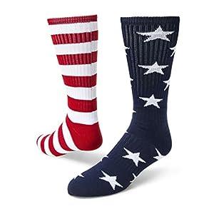 Red Blue Mismatched Crew Socks
