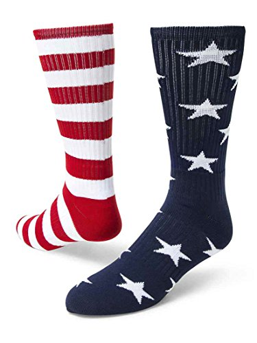 Red Lion Freedom Mismatched Crew Socks American Flag (Navy Blue/White/Red - Large)]()