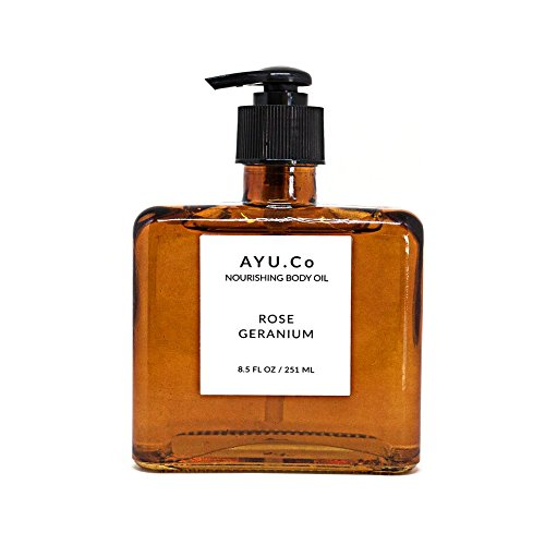 Bw1 Body (Ayu.Co 8.5oz Rose Geranium Nourishing Body Oil, Cruelty Free and Made in USA in Small Batches (Rose Geranium))
