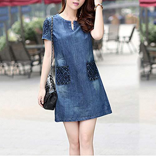 27ab7403561634 Oksea Jeanskleid Damen Sommer Denim beiläufiges Elegantes Cowboy Abschnitt  Jeans Kleid mit Taschen Damen Kleid: Amazon.de: Bekleidung