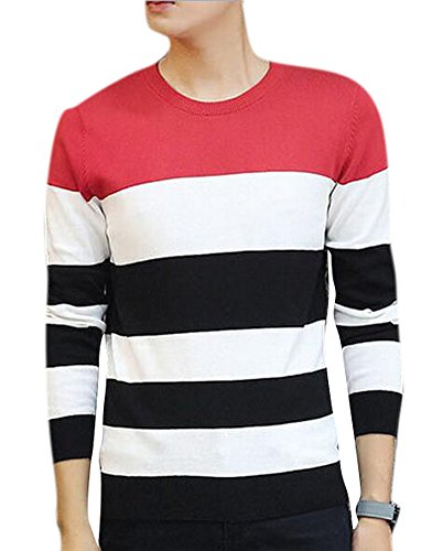 Men's Casual Slim Fit Crew Neck Striped Knit Pullover Sweater Red 3XL (Sweater Striped Crewneck Lambswool)