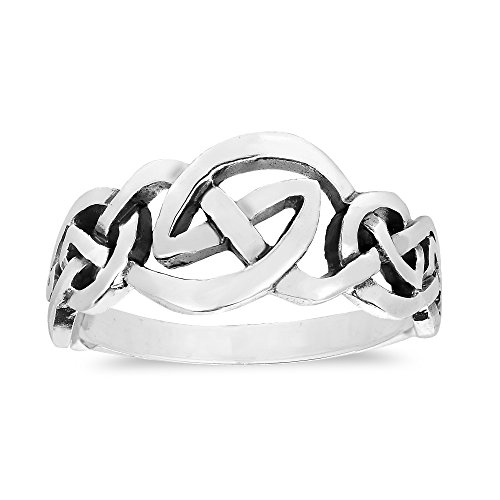 Love Intertwine Continuous Celtic Knot .925 Sterling Silver Ring - Band Celtic Continuous Knots