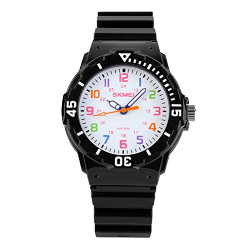 Kids 50M Waterproof Watch,PU Band Wrist Watch for Boys Girls, Black