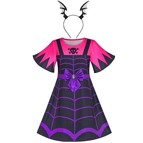 Girls Dress 2-in-1 Vampire Girl Halloween Costume Headband Size 7 ()