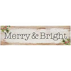 P. Graham Dunn Merry & Bright Christmas Whitewash 6 x 1.5 Mini Pine Wood Tabletop Sign Plaque