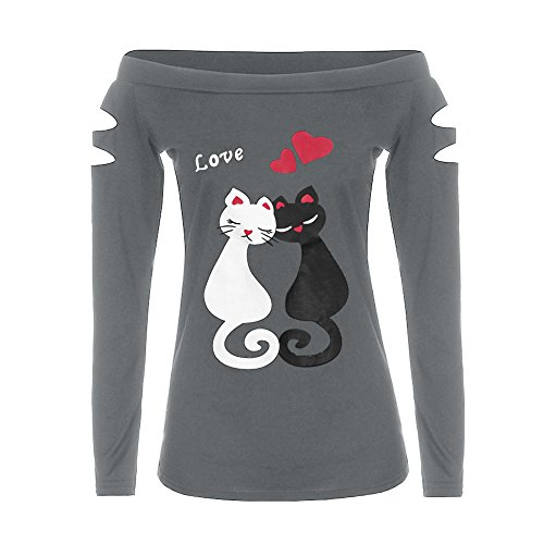- ANJUNIE Cat Love Prints Shirt,Women Off Shoulder Tops Long Sleeve Ladies Blouse(Gray,M)