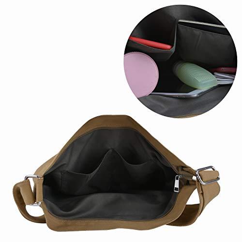 Mujer Multifuncional Hombro de de para Bolsas Crossbody Bandolera Bolsos Lona Bolso Bag Fanspack Bolsos de Hobo Caqui dzOwZn6qd