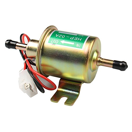 (CarBole Universal Electric Fuel Pump 12V 1-2A 4-7 P.S.I. Shut-off Pressure Gas Diesel Inline Low Pressure Metal Pump Module HEP-02A E8012S)