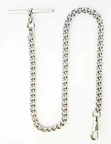 Dueber Chrome Plated Stainless Steel Pocket Watch Chain with T Bar