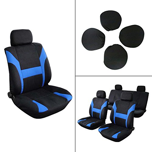 Chevy Pickup Body - ECCPP Universal Car Seat Cover w/Headrest - 100% Breathable Polyester Stretchy Durable for Most Cars Trucks Vans(Black/Blue)