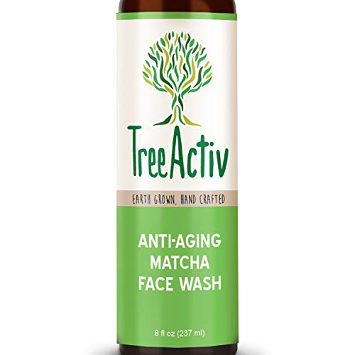 TreeActiv Anti-Aging Matcha Face Wash, Reduce Wrinkles & Fine Lines, Unclogs & Minimizes Pores, Organic for Dry & Oily Skin, Natural Antioxidant