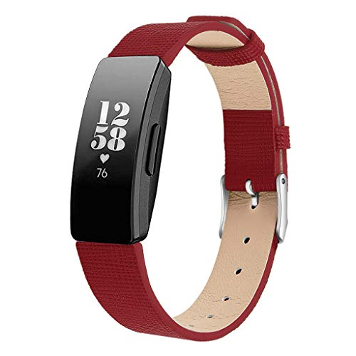 ⌚Leather Watch Bands for Fitbit Inspire/Inspire HR Replacement Wristband Straps 14mm ♔Sunbona Calfskin Replacement Watch Bands with Deployment Buckle Watch Strap Watch Clasp Buckle (Red)