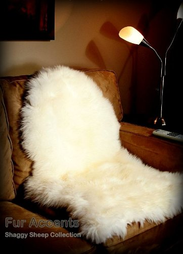 Fur Accents White Faux Sheepskin / Area Rug / Chair Cushion Pad / Ultra Suede Back / Sheepskin Shape / 2'x4' (Chair Cushions Pottery Barn)