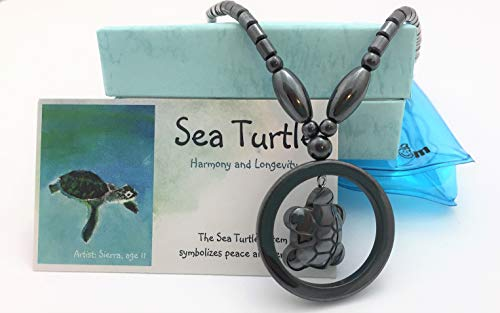 (Smiling Wisdom - Sea Turtle Hematite Necklace Gift Set - Non-Magnetic - Spirit Animal Totem - Boys, Children, Tweens, Teens, Girls - Team Events, Ice Breakers, Party Favors - Limited)