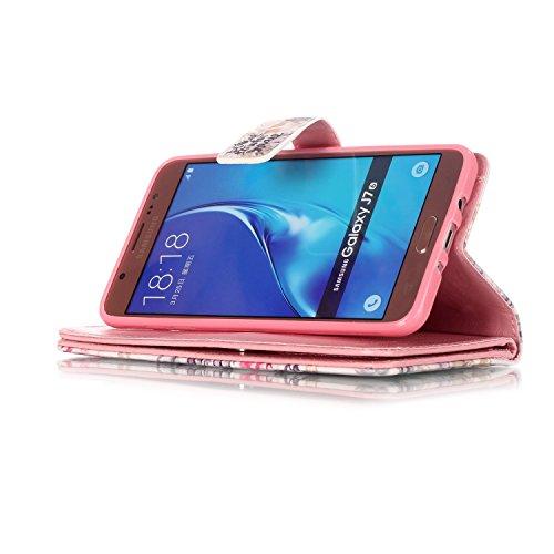 PU Smartphone Samsung Galaxy J5(2016) J510móvil, (Ranura 9) funda de piel para Samsung Galaxy J5(2016) J510funda Flip cover funda Libro con tarjetero función atril magnético + Polvo Conector marró 8