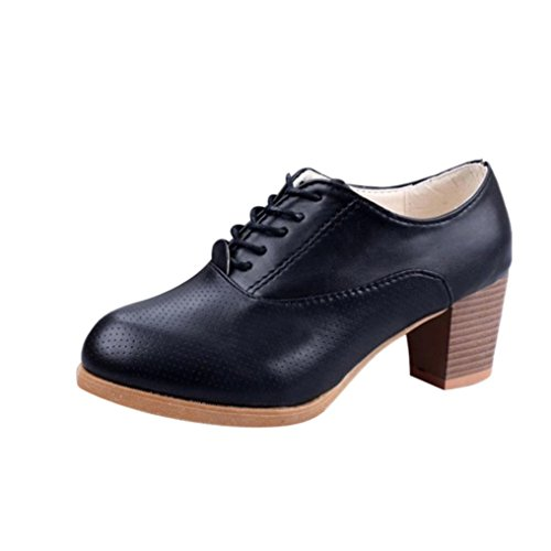 Lace Square Spring Round Black Women's Shoes Cute erthome up Shoes Wood Heel Casual Toe E1YSnaxq
