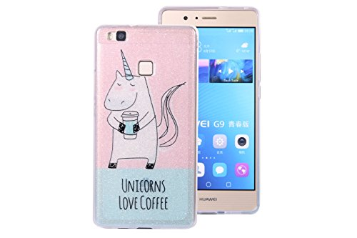 Huawei P9 lite Bling Case, Huawei P9 lite Cover, BONROY® Ultra-Thin Soft Gel TPU Silicone Case For Huawei P9 lite, Luxury Glitter Sparkle Perfect Fit Slim Sturdy Bumper Scratch Resist Protective Clear unicorn