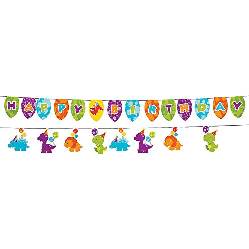 Fun Express Little Dinosaur Birthday Party Garland - 7 ft -