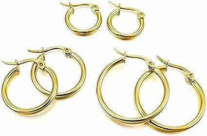 Acero Inoxidable Pendientes Conjunto - LINSUNG3 pares 15mm 20mm 25mm Acero Inoxidable Aro Hoop Huggie Pendientes Conjunto Mujer Dorado