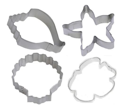 4 Pc Sand Dollar Conch Seashell Starfish Cookie Cutter Sea Life Nautical -