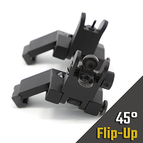 Hojan Outdoor Sports AR15/M4/M16 Tactical 45 Degree Offset Flip-Up Backup Iron Sight, Front and Rear Canted 45 Degree Flip Up Sights Set Picatinny Rail Mount Rapid Transition (Mount Buffer Tube)