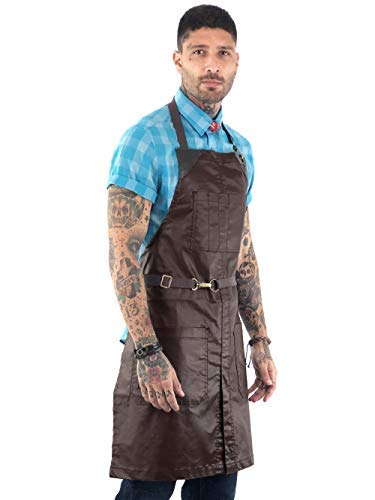 (Under NY Sky No-Tie Brown Apron - Coated Twill with Leather Reinforcement, Split-Leg, Adjustable for Men and Women - Pro Barber, Tattoo, Barista, Bartender, Hair Stylist, Server Aprons)