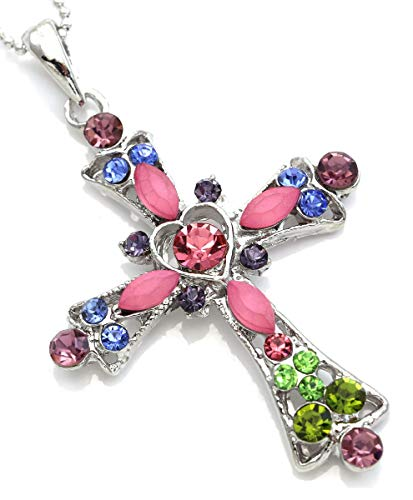 Soulbreezecollection Christian Cross Necklace Heart Shape Pendant Chain Charm Designer Jewelry (Multi-Color) ()