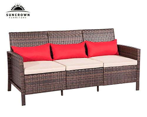io Sofa Couch (Seats 3) All-Weather Wicker Patio Furniture with Thick Cushions | Garden, Backyard, Porch or Pool ()
