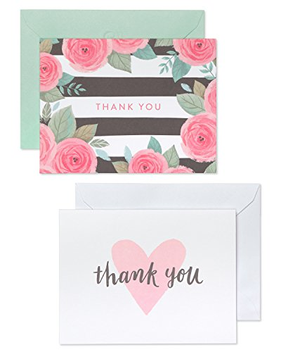 American Greetings Pink, Black and White Floral and Hearts Thank-You Cards and White Envelopes, 50-Count by American Greetings