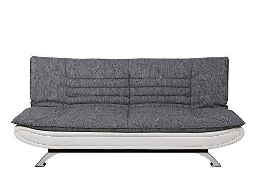 AC-Design-Furniture-56982-Schlafsofa-Jasper-Liegeflche-circa-196-x-123-cm-Sitz-und-Rcken-Stoff-hell-grau-Rahmen-lederlook-wei-Fe-Metall-verchromt