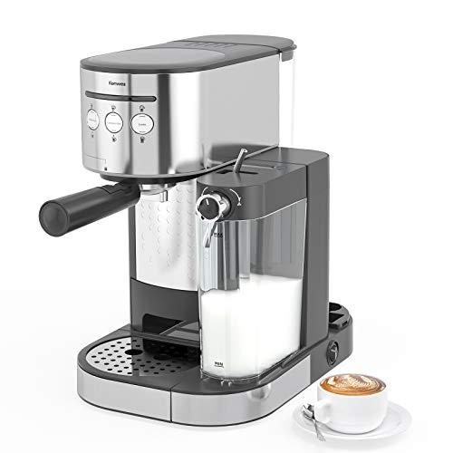 Kenwell PrimaLatte II – Cafetera espresso (presión de 20 bar, para café en polvo, espumador de leche automático…