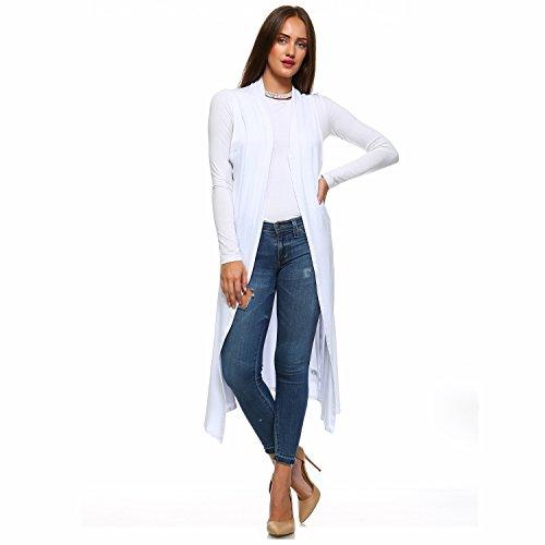Isaac Liev Women's Sleeveless Lightweight Duster Vest (2X-Large, White)