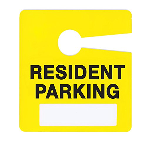 Resident Parking Permit Pass Stock Hang Tags for Apartments, Condominiums, Townhomes by Milcoast,10 Pack (Yellow) (Rear View Mirror Tags)