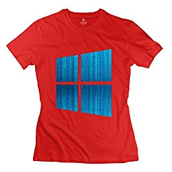 Vintage Microsoft Windows Win 10 Interface Women's Tshirt Red Size XS
